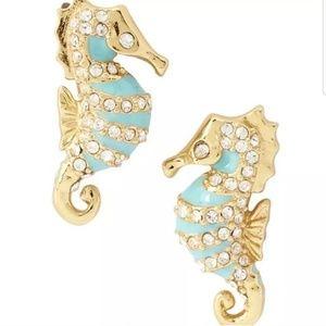 Kate Spade Gold Blue Beach Seahorse Stud Earrings